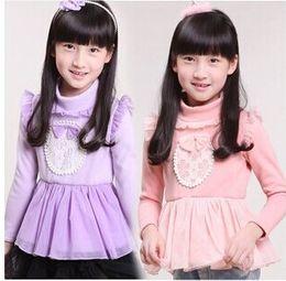 Lace Bowknot Girls Ruffles Tulle Long Sleeve T Shirts tshirts Warm Winter Cotton Girl Backing Shirts Kids Childs Tees Purple/Pink K2773