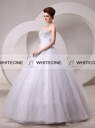Wholesale Princess Romantic Beaded Sweetheart Long In Stock Bridal Dress Pleated Organza Floor Length Ball Gown Lace up Wedding Dresses Gowns On Sale