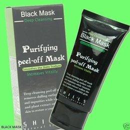 Wholesale 100pcs Black Suction Mask Anti Aging ml SHILLS Deep Cleansing purifying peel off Black mud Remove blackhead facial mask Shills Masks