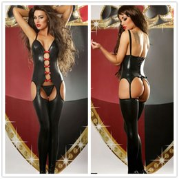 Wholesale Sexy Adult Women Black Faux Leather Latex Bodysuit Open Crotch Hollow Out Gothic Catsuit Stripper Pole Dance Clubwear Lingerie