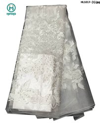 Wholesale FashionTop Selling net Lace fabric french Lace with stones for wedding party derss HL1017