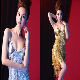 Wholesale 2015 sequin latin ballroom dance dress tassel fringe salsa dresses sexy knee length tango black red gold colors halter costume