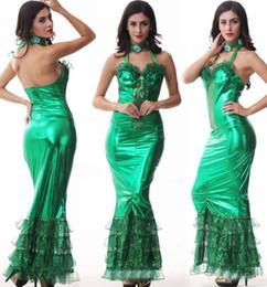 Wholesale 2015 nuevos trajes de halloween para las mujeres Traje de sirena adulto atractivo del vestido atractivo de la sirena verde Ropa del funcionamiento de la etapa