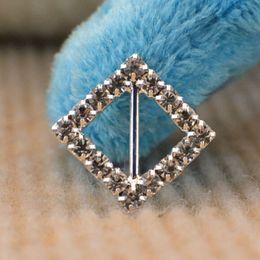 Wholesale 120pcs Attractive mm Crystal Rhombic Buckle Ribbon Slider DIY Hairwear Wedding Party Favor Accessories wa131X15