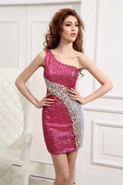 Wholesale 2015 New Prom Red Carpet Dress Cocktail Night Club Sheath Sequins One shoulder Sexy Custom Made Short Length Fashion Cheap New Cute Pretty