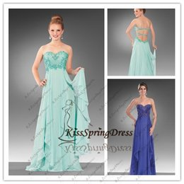 Wholesale 2015 Classic A line Sweetheart Beads Ruffles Straps Royal blue Aqua Chiffon Prom Evening Dresses