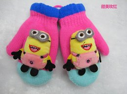 Wholesale 2014 new children s winter cartoon cute little yellow knitted gloves package refers to people with lanyard Despicable Me warm gloves kids