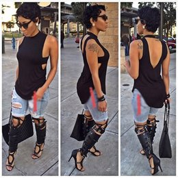 Wholesale 2016 Summer Fashion Color Sexy Club Sleeveless Backless Tshirts Women Tees t shirts blouses shirts