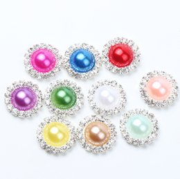 Wholesale 19colors mm Flat Back Crystal Pearl Buttons Metal Rhinestone Crystal