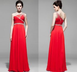 Wholesale Sexy A line One shoulder Ruffle Pleated Beaded Short Sweet New Arrival Chiffon Homecoming Dresses Zipper Prom Dresses L1014