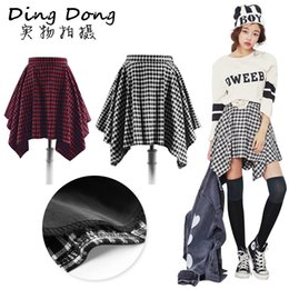Wholesale 2015 Korean Fashion Harajuku Style Retro All match Stylenanda College Plaid Irregular High Waist Pleated Short Skirts Women Casual Wear