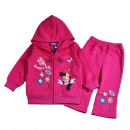 Wholesale 2016 pretty minnie mouse mickey sweater suit jacket Kids Cloth Set girls hoodies jacket coats pants y winter tracksuits outfits