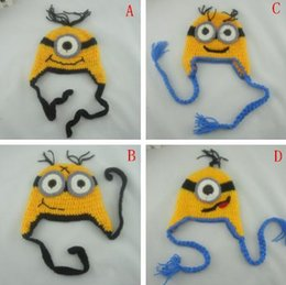 Wholesale 4 Design Despicable me crochet hats NEW Baby cartoon minions Costume Handmade Crochet Knitted Hat Animal Mouse Head Beanie Cap