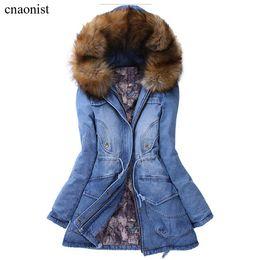 Wholesale Manteaux d hiver de femme Thick Hoodies Printemps Automne long Denim Vestes Manteaux Hiver Femme col en fourrure nouvelles femmes Coton Denim Manteaux