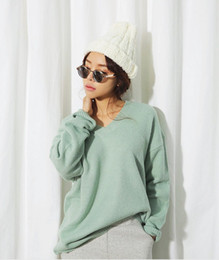 Wholesale Stylenanda Korea purchasing new winter fashion loose big yards multicolor knit V neck sweater