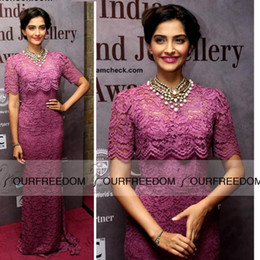 Wholesale Celebrity Dress New Sonam Kapoor High Neck With Beaded Half Sleeve Lace Sheath Long Evening Dresses Custom Made Red Carpet Dresses