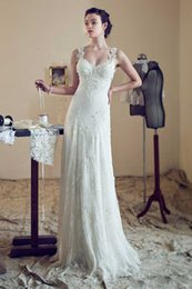 Wholesale 2015 Grace A Line Lace Cotton Scoop Sweetheart Wedding Dresses With Applique Sleeveless Chapel Length Train Net Applique Back Design