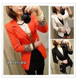 Wholesale Women s Outerwear Long Sleeve Leopard Print One Button Slim Blazer Suit White Black Orange LOW0419
