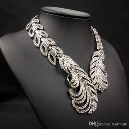 Wholesale 3 colors Luxury jewelry statement necklace diamond leaves collar pendants Strings necklaces for ladies fit Wedding Dresses new