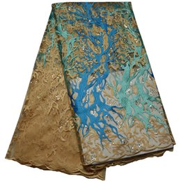 Wholesale Latest African French Net Lace Fabric with sequins yards High Quality African Tulle Lace Fabric For Wedding