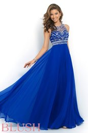 Wholesale 2015 Blush Prom Dresses Blue Chiffon Sheer Crew Straps Sleeveless Hollow Back Zipper Crystal Beading Sequins Cheap Modest Party Evening Gown