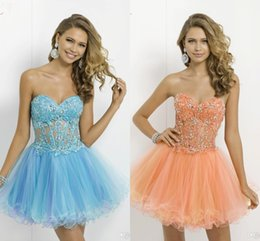 Wholesale Light Sky Blue Sweetheart Graduation Dresses Crystals Lace Applique Corset And Sheer Ball Gown Prom Dresses Blush Homecoming Dresses