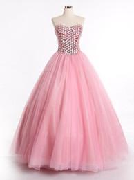 Wholesale Vestidos de Quinceanera rosa con pesado Rhinesonte Crystal Beadings Sweetheart largo piso palabra de longitud vestido de fiesta vestido de baile Sweet Debutante vestidos