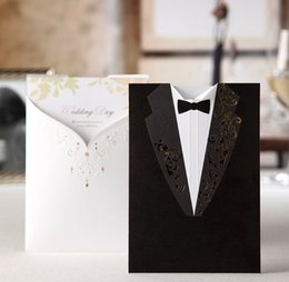 Wholesale 2015 Unique Free Personalized Customized Laser Cut Wedding Invitation Cards Custom Paper Card Lover Sweet One Size Black One Size White