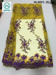 Wholesale 2015 HL9051 hot sale new designs fashionable and embroidery net lace french lace good African lace fabrics for fashion party wedding dress