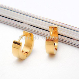 Wholesale 1 Pair Cool Stainless Steel Hoop Earring Black Blue Golden Silver for Men