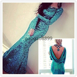 Wholesale Peacock Blue Sparkly Sequins Sexy Long Sleeve Evening Dresses with Cowl Back Custom Make Crew Full length Mermaid Prom Dresses