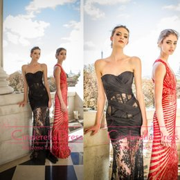 Wholesale 2015 Zuhair Murad Dresses Sweetheart See Through Tulle Prom Dresses Sexy Sheer Black Lace Backless Evening Gowns Long Party Dress BO3184