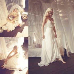 Wholesale Boho Wedding Dresses Spaghetti Strap Lace A Line Chiffon Sleeveless Backless The Best Selling Wedding Dresses with Appliques Beads