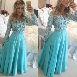Wholesale 2015 Long Blue Prom Dresses Modest Long Sleeve V Neck Pearls Lace Chiffon A Line Floor Length Hot Selling Party Gowns Custom Made P148