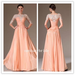 Wholesale Long Chiffon Long Sleeve High Neck Applicue Back Zipper Formal Bridal Prom Party Evening Dress Custom