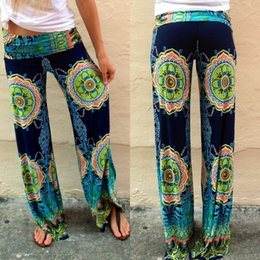 Wholesale 2015 Plus Size Womens Floral Print Wide Leg Palazzo Trousers Summer Beach Pants