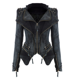 Wholesale 2015 New Slim Denim Jacket Fashion Women Decorated Rivet Ladies Motorcycle Jacket Trench Coat Cool Outerwear Long sleeve Retro Top Quality