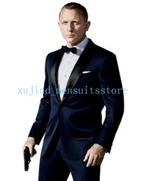 Wholesale 015 Custom Made One Button Navy Blue Groom Tuxedos Best man Shawl Lapel Groomsman Men Wedding Suits Bridegroom Jacket Pant Bowtie Free Ship