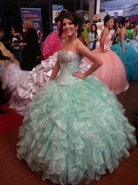 Wholesale 2016 Mint Green Quinceanera Dresses Sparkly Beaded Sequins Ball Gown Sweet Debutante Formal Wear Ruffles Organza Sweetheart Prom Pageant
