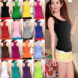 Wholesale 2015 Hottest Selling Women Girls Ladies Racerback Tank Tops Cami Mini Sleeveless Vest Waistcoat T Shirt ax2