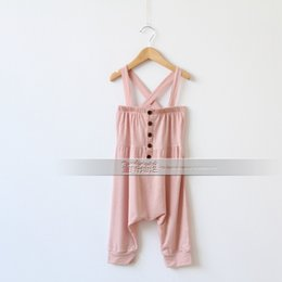 Wholesale NEW ARRIVAL baby girl kids Korean jumpsuits suspender trousers Siamese trousers button modal Haren pants wrapped chest Bib tube vest