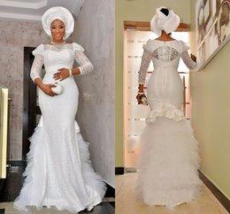 Wholesale Arabic Style Muslim Wedding Dresses Bateau Cap Long Sleeves Full Lace Wedding Dress Ruffles Tulle Zipper Back White Bridal Dress Mermaid