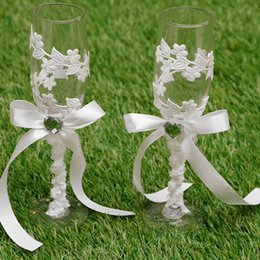 Wholesale 24sets Wedding Bridal Wineglass Sets Rhinestone Bowknot Design Cup Glass New Style Marriage Celebration Supplies wds102