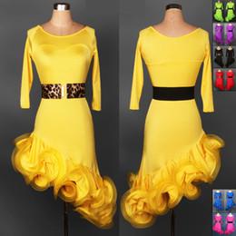 Wholesale 2015 New Latin Ballroom Dresses Yellow Red Rose Green Black Purple Blue Costume Dance Latine For Women Latin Dance Wear DQ3055
