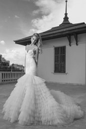 Wholesale Luxury Mermaid Bridal Gown Spaghetti Straps Court Train Tiered Organza Applique Beaded Sequin Bling Wedding dresses Open Back Wedding Dress