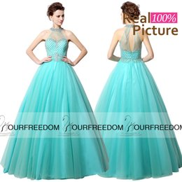 Wholesale LX010 Real Image Aqua Green Tulle Long Prom Dresses Illusion High Neck With Beaded keyhole Back Ball Gown Formal Evening Dresses
