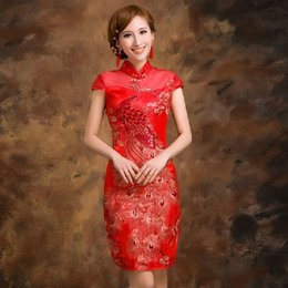 Wholesale New arrival sexy high collar red women cheongsams Phoenix traditional Chinese dresses Short qipao