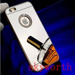 Discount diamond glitter chrome iphone Luxury Electroplating Bling Diamond Glitter Sparkle Mirror Chrome Back Cover Case for iPhone 4 4S 5 5S 6 6S Plus