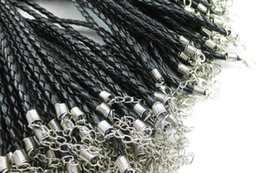 Wholesale 100 cm Leather Braided Charm Chain Necklace rope Love For Bead lobster Clasp Black Colors