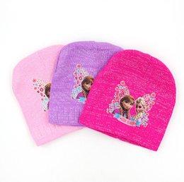 Wholesale Girl Keep Warm Cap Girl Frozen Hats Caps Children Hats Knitted Hats F1D917